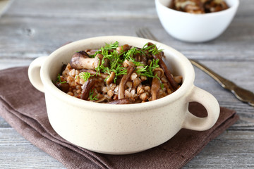 Cooked Buckwheat and mushrooms