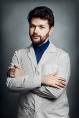 young male doctor chemist bearded man
