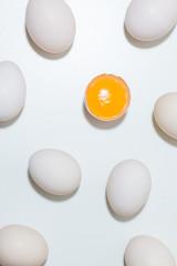 Broken egg in white background