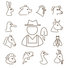 farm animals linear icons set, thin lines silhouettes of animals