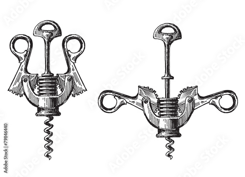corkscrew on a white background. illustration, sketch - 79846440