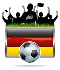 Soccer Icon with Germany Flag and Fans