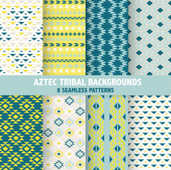 Vintage Aztec Tribal Backgrounds - 8 Seamless Patterns