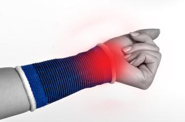 Trauma of wrist in brace. Isolated.