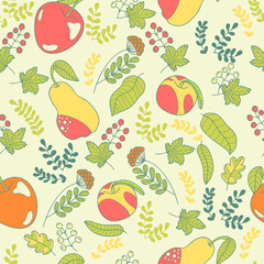 Leafs and fruits seamless pattern.