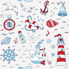 Nautical Sea Seamless Pattern - for scrapbook and design