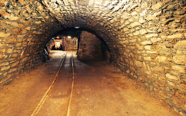 Mine gold underground tunnel railroad