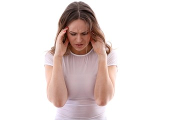 woman with migraine headache (white background)
