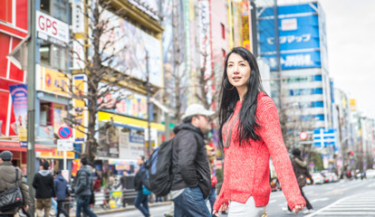 woman on the streets of tokyo