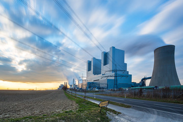 Coal-fired Powerplant at sunset