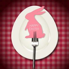Vector of rabbit easter card with fork on white oval dish