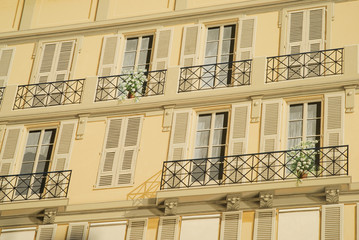Nice, France. Painted facade of an historic building