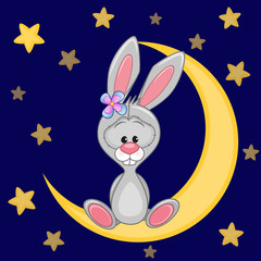 Cute Bunny on the moon