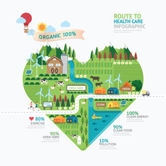 Infographic health care heart shape template design.route to hea