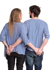 Back view of hugging young couple