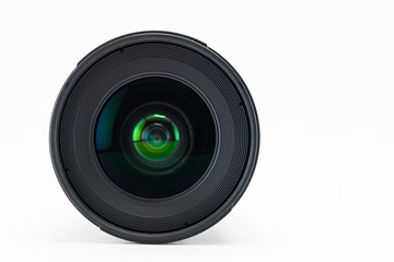 Front view of camera lens on white background