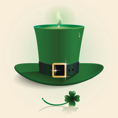 Vector modern design Saint Patrick's Day green candle hat with l