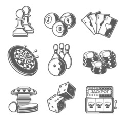 Casino Sport and Leisure Games Icons. Outline Style