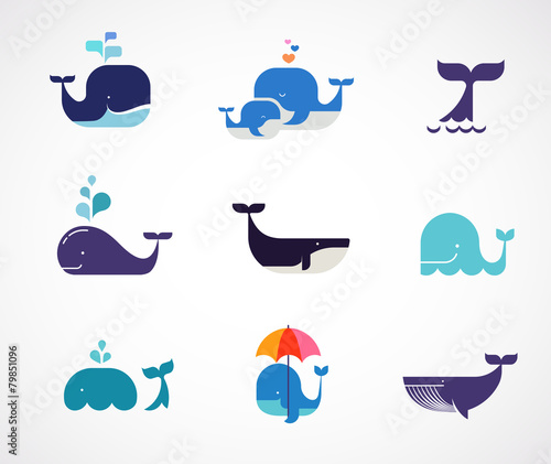 Fototapeta Collection of vector whale icons