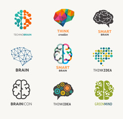 Collection of brain, creation, idea icons and elements