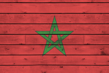 morocco flag on  wood texture background