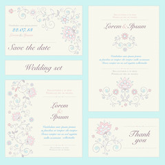 Invitation card set in pastel colors.