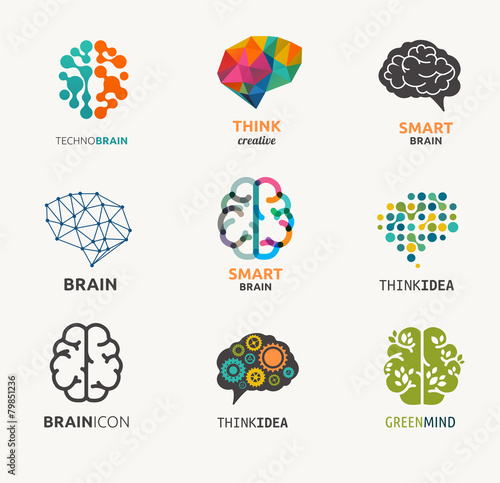 Collection of brain, creation, idea icons and elements - 79851236