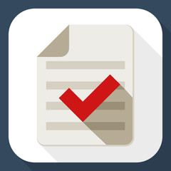 Document and check mark icon with long shadow
