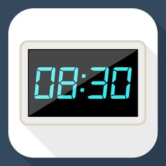 Digital clock flat icon with long shadow