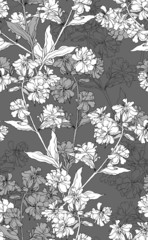 Vector seamless floral pattern with hand drawn flowers.