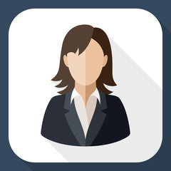 Female user icon with long shadow
