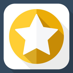 Golden star icon with long shadow