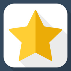 Gold star icon with long shadow