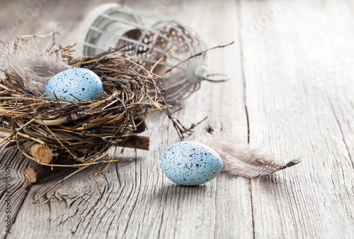 quail eggs on white wooden background - 79851641