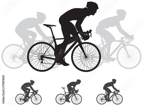 Bicycle race vector silhouettes