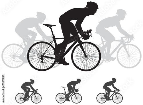 Fototapeta Bicycle race vector silhouettes