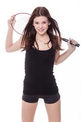 girl holding badminton racket isolated on white background.