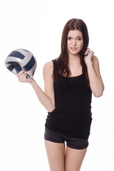 sporty girl with deflated ball