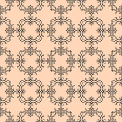 Vector floral line style background, seamless monogram