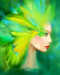 Fantasy Portrait beautiful woman green summer butterfly