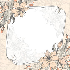 Stylish floral background with frame