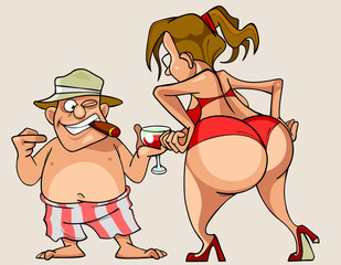 woman with big ass in a bathing suit and man in shorts