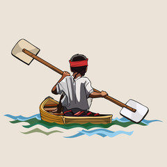 man in a canoe with paddle bilateral