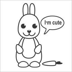 Cute cartoon rabbit saying 'I'm cute'