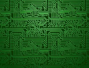 Vector green circuit board background