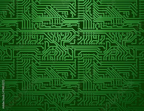 Vector green circuit board background - 79853272