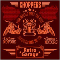 Vintage motorcycle labels, badges and design elements - vector