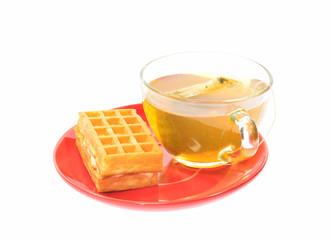 Tea and one soft waffle