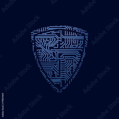 Data security icon. Circuit board shield - 79854464