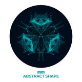Abstract geometric shape, low poly, HUD, futuristic, space shape